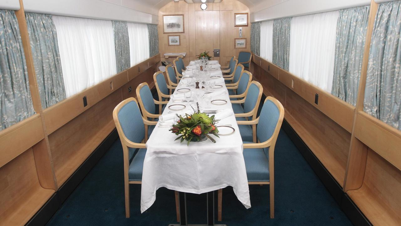 Inside the dining room aboard the biofuel powered Royal Train. Picture: Danny Lawson/PA Wire