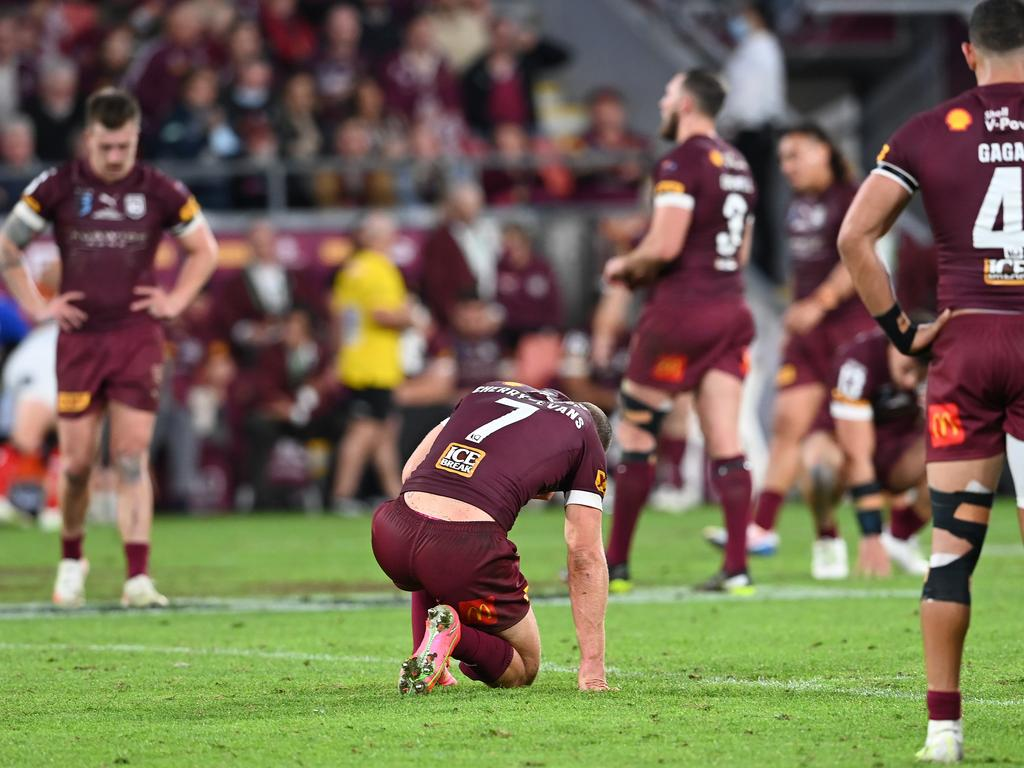 Cherry-Evans cut a despondent figure after the Maroons lost 26-0 in Game Two. (Photo by Bradley Kanaris/Getty Images)