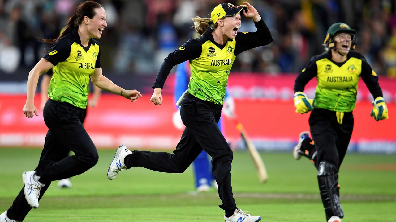 Australia's captain Meg Lanning (centre) celebrates with teammates after the victory against India in the Twenty20 women's World Cup cricket final. Picture: AFP