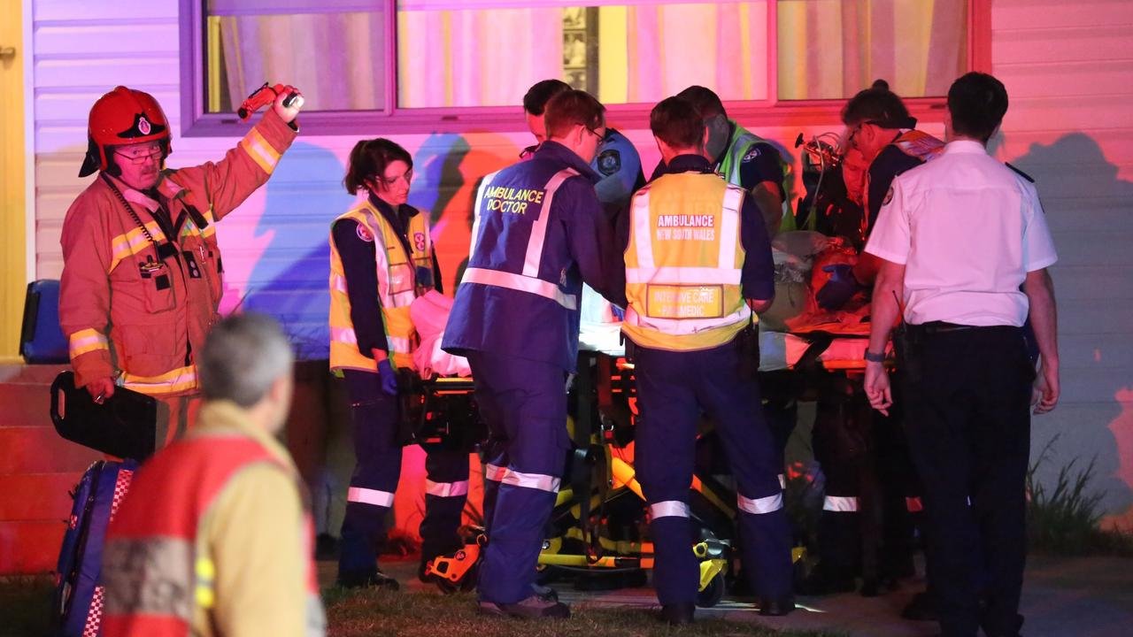 Police and paramedics on the scene at the Gymea granny flat that Ms Zukowski allegedly set alight. Picture: Steve Tyson