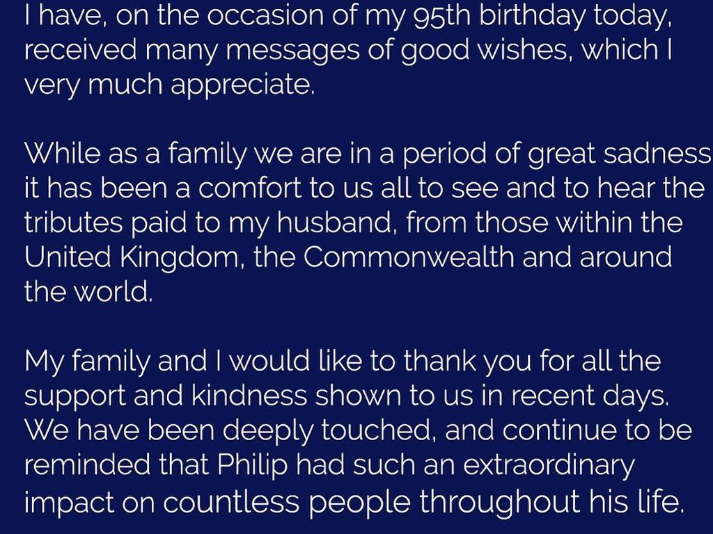 "The Queen released a rare personal message to thank the world for its ""kindness"" following the death of Prince Philip. Picture: Instagram"