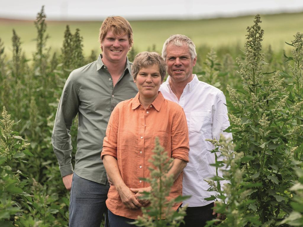 Peter Daman, left, with parents Henriette and Lauran Daman run Kindred Organics in northwest Tasmania. The company took out the Best New Product category in the delicious. Harvey Norman Produce Awards 2021.
