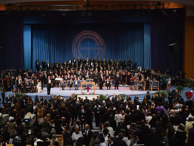 Mourners attend Aretha Franklin's funeral at Greater Grace Temple in Detroit. Picture: Angela Weiss/AFP
