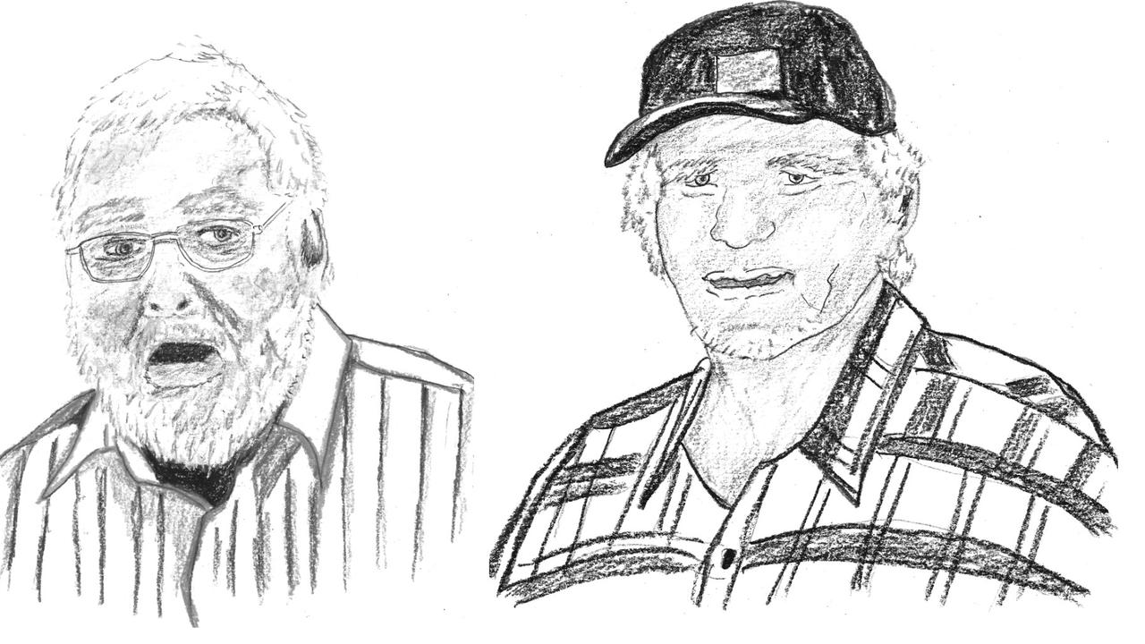 The author's sketches of two inquest witnesses, and former neighbours, Geoffrey Owen (left) and Frank Abbott (right). Picture: Ally Chumley/Hardie Grant Books