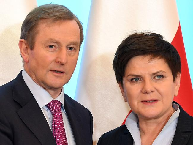 Prime Minister Szydlo, right, during a meeting on Thursday with Irish counterpart Enda Kenny in Warsaw. Picture: Janek Skarzynski/AFP