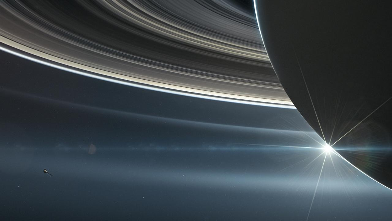 A close-up view of Saturn.