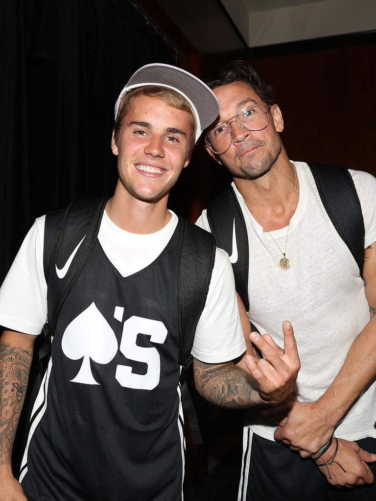 Carl Lentz with Justin Bieber at the 2017 Aces Charity Celebrity Basketball Game. Picture: Shareif Ziyadat/Getty Images