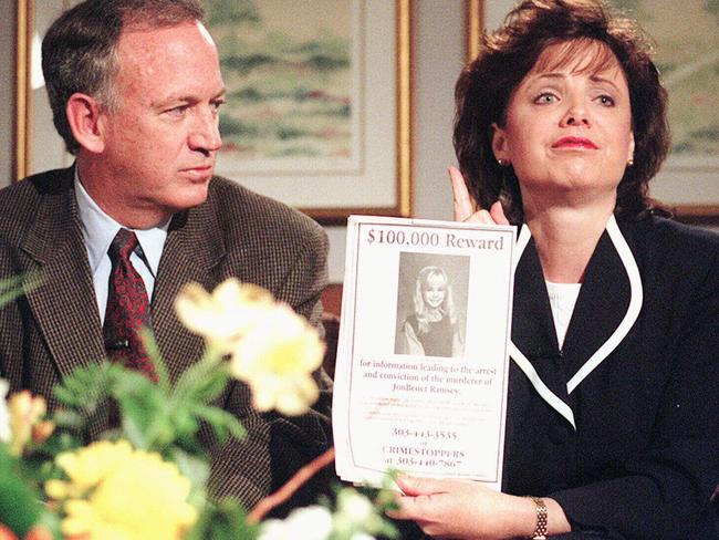 John and Patsy Ramsey at a press conference holding a reward poster. Picture: Patrick Davidson, Rocky Mountain News