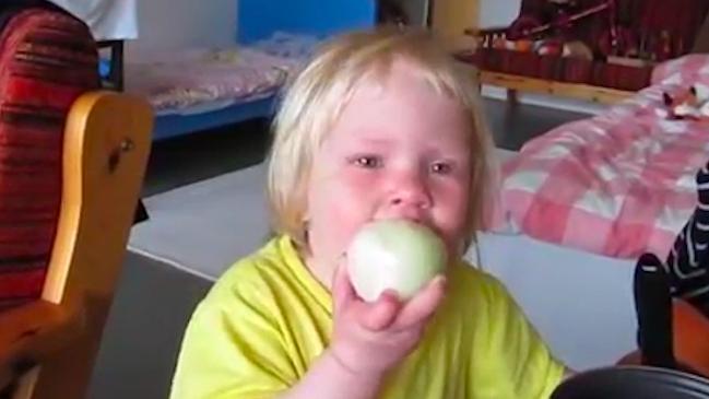 Toddler eats raw onion like an apple