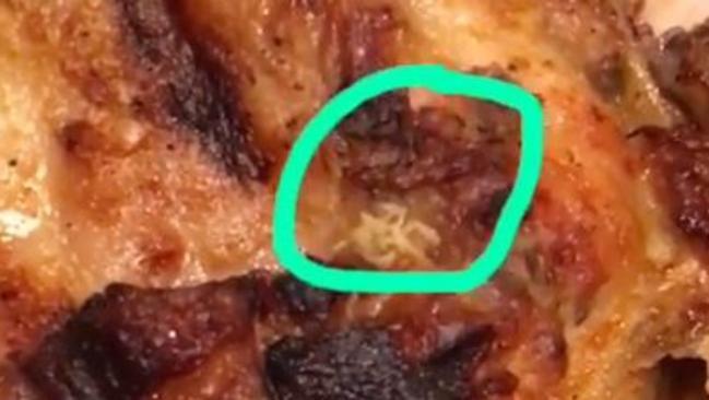 Maggot infested chicken at Nando's Westfield Kotara Newcastle