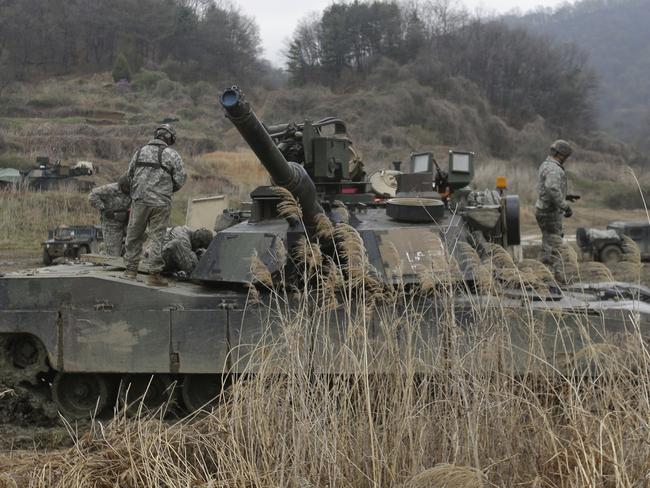 US Army tanks conduct a military exercise in Paju, near the border with North Korea, South Korea. Picture: AP
