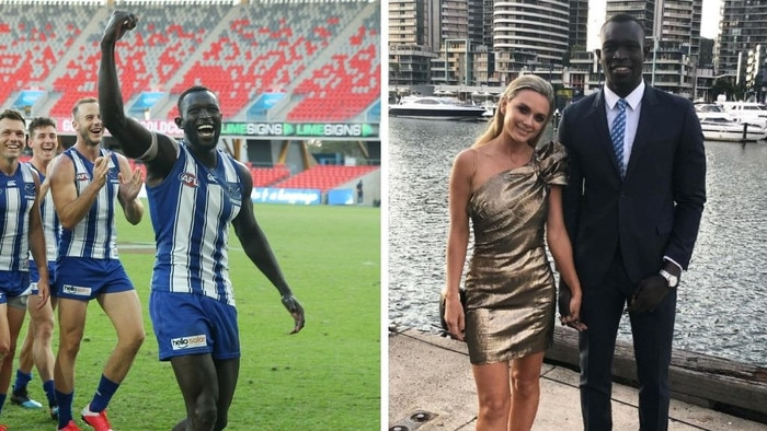 Majak Daw said goodbye to the AFL and his partner Emily McKay in 2020.