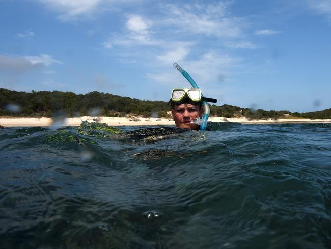 One Nation Senator Pauline Hanson snorkels off Great Keppel Island. Picture: AAP Image/Dan Peled