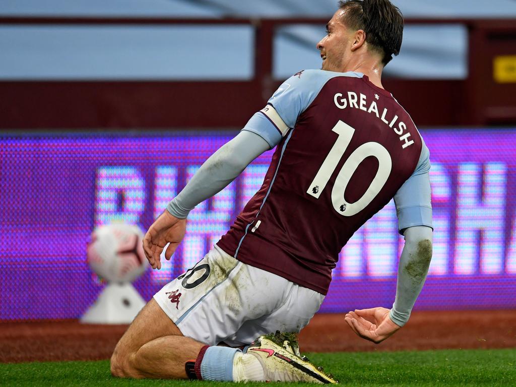 Aston Villa's English midfielder Jack Grealish scoring for fun.