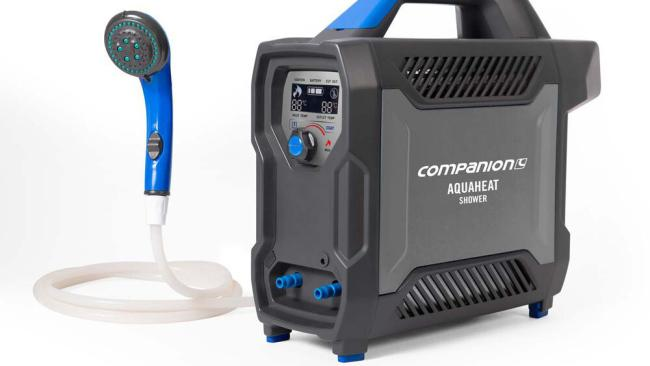 5/15The heat is on If cold showers are a camping drawback for you, allow us to introduce the Companion Aquaheat Water Heater. As you've probably surmised from the tautology in the title, this delivers steamy goodness and includes a pump, water hoses, DC lead and a shower head.