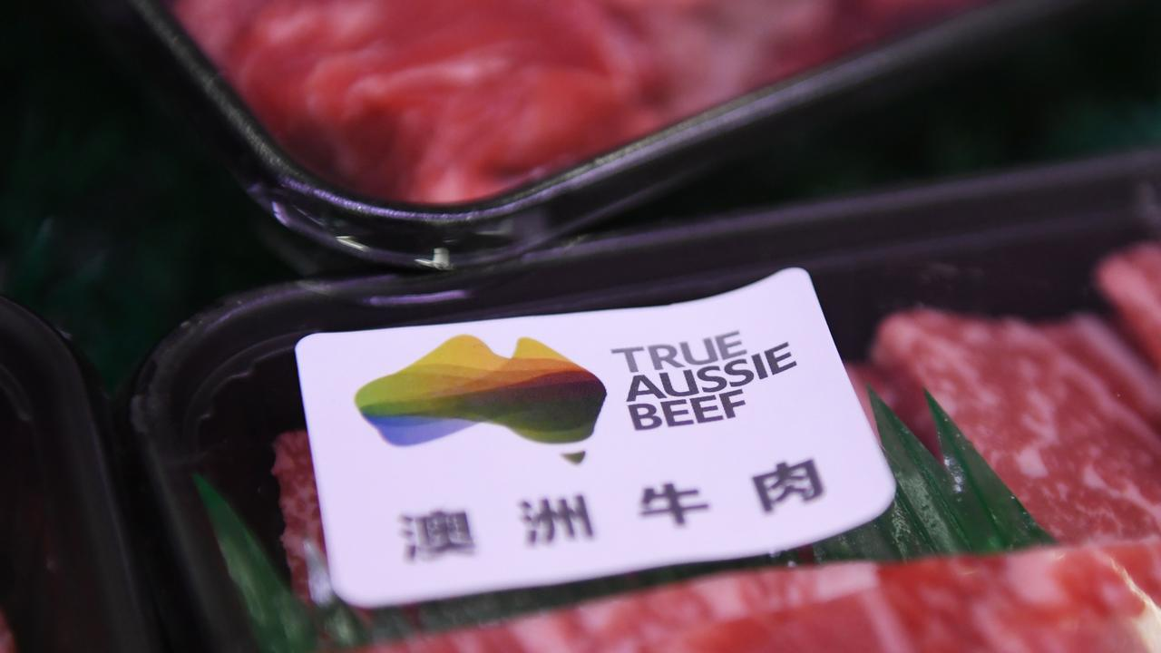 Australian beef is seen at a supermarket in Beijing last year. Picture: Greg Baker / AFP