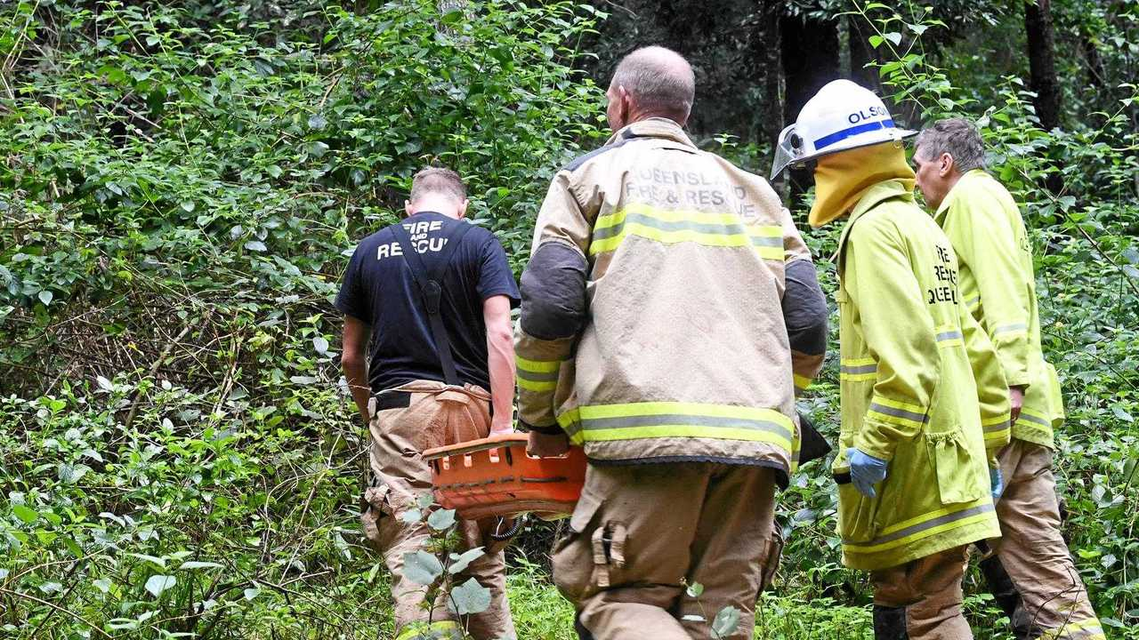 Emergency services attended the Imbil State Forest today after a man in his 50s suffered a heart-attack while riding a trail-bike. Picture: Troy Jegers