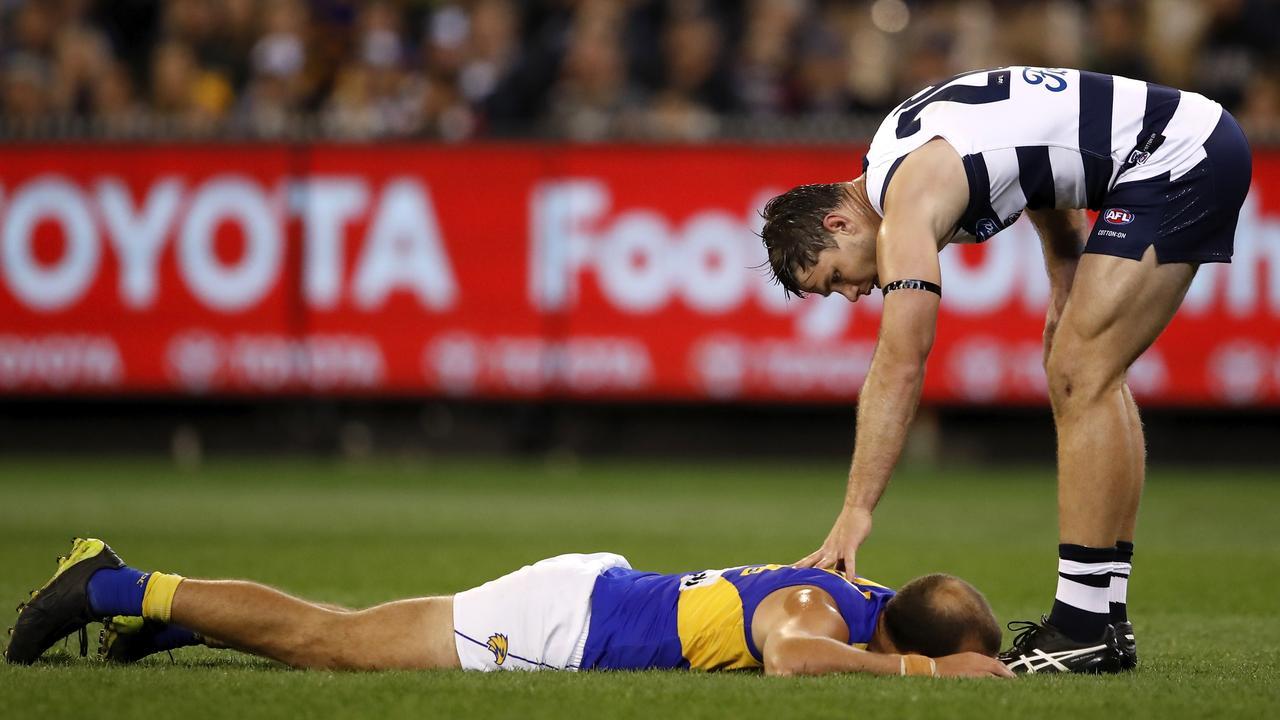 Tom Hawkins checks in on Will Schofield. Photo: Dylan Burns/AFL Photos