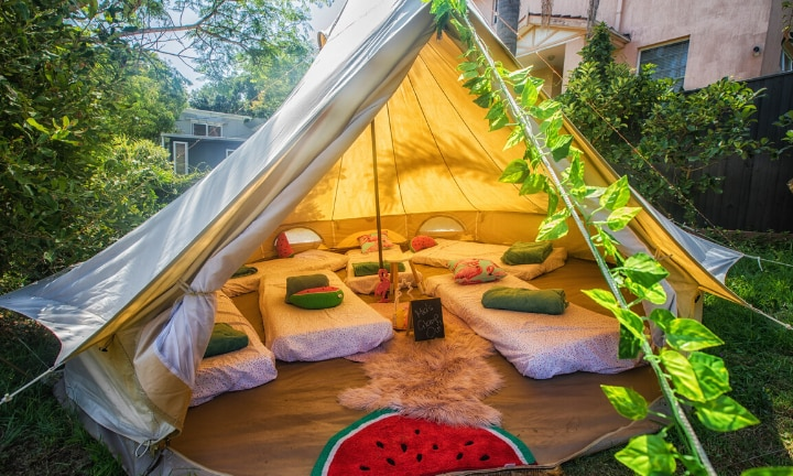 Mum throws epic glamping party in backyard for her tween