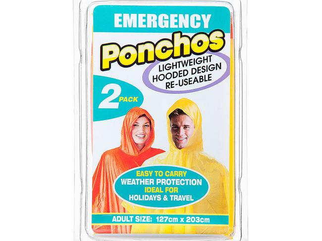 EMERGENCY RAIN PONCHOS ($3.50 for 2) A Reject Shop staple (you'll usually find them near the register). I'm not going to claim these are a positive fashion statement, but they weigh practically nothing and I always have one stashed in my travel bag in case of an unexpected downpour.