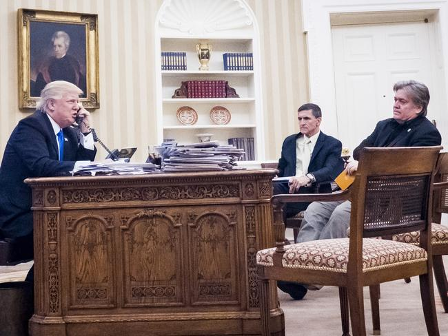 Steve Bannon, right, was once a fixture at President Trump's Oval Office events. He's recently been pushed quietly into the background. Picture: Pete Marovich/CN