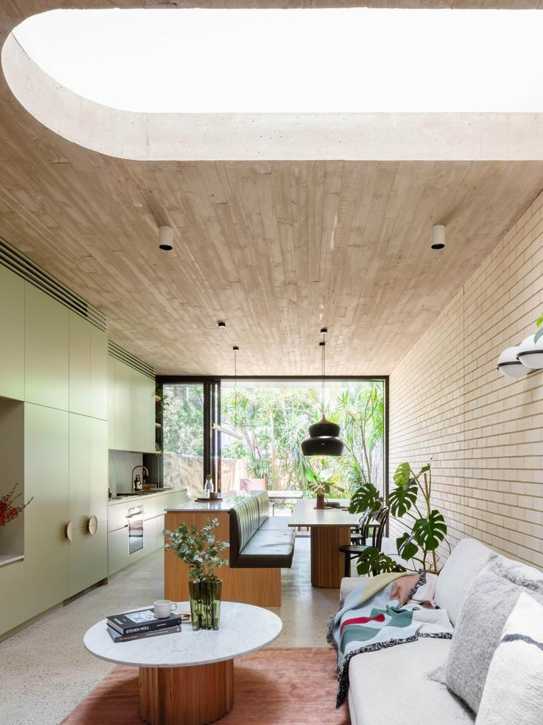 A curved skylight in this house by architect Shaun Carter allows daylight and moonlight to stream into the centre of the house. More: carterwilliamson.com Picture: Katherine Lu
