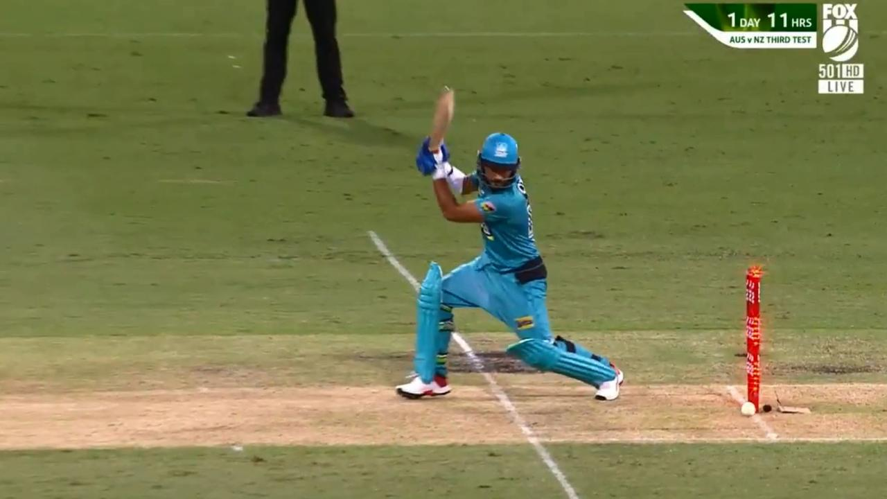 Zahir Khan was bowled. But the bails didn't come off.