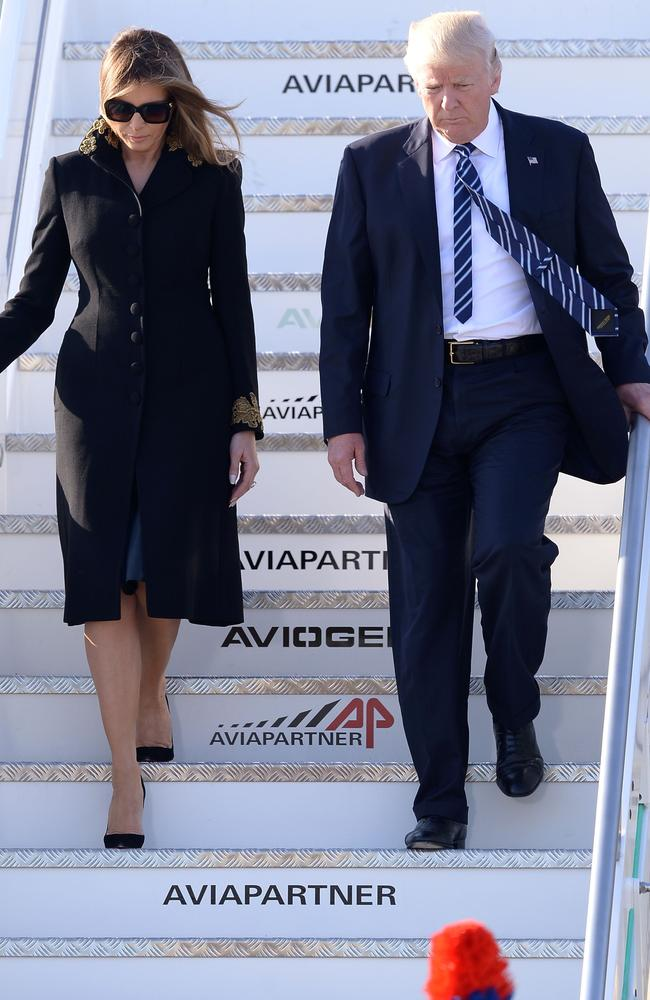 Every time they have disembarked they have looked like a couple who have had an argument on the plane. Perhaps Melania always copped the dreaded middle seat. Picture: AP