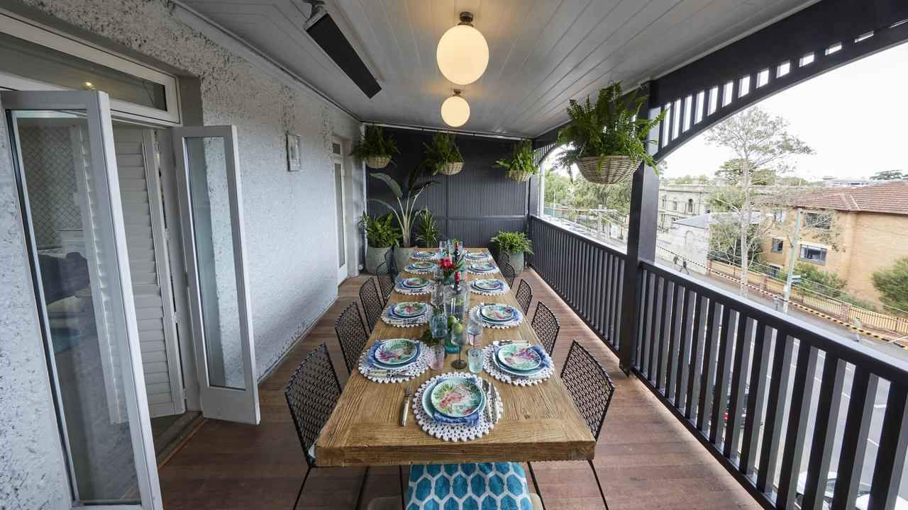 They were also blown away with the classy style of the upstairs verandah that adjoins to their entertaining space on level three. Picture: The Block