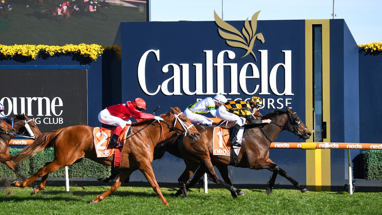 Probabeel (NZ) ridden by Damian Lane wins the W.W. Cockram Stakes at Caulfield Racecourse on August 28, 2021 in Caulfield, Australia. (Reg Ryan/Racing Photos via Getty Images)