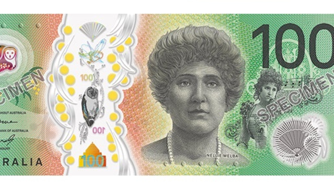 The signature side of the new $100 banknote.