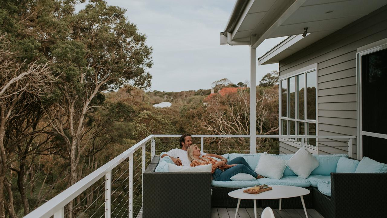 One of the outdoor sitting areas at Cliff Beach House
