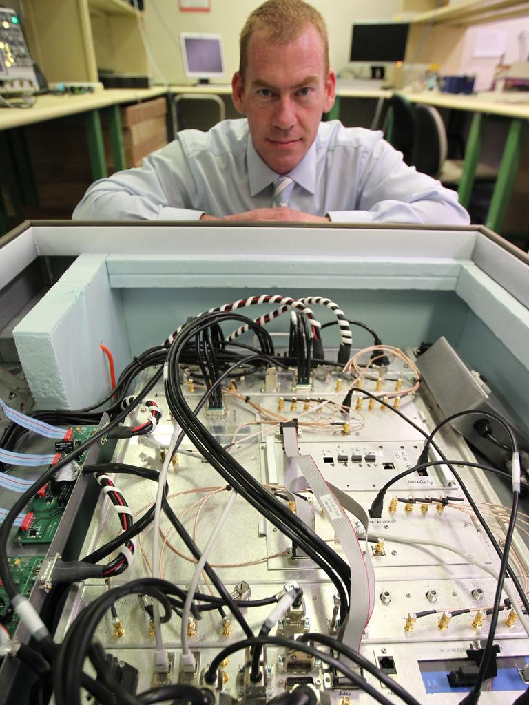 Professor Steven Tingay at the International Centre for Radio Astronomy Research, Curtin University in Perth, with the first major pieces of a revolutionary new radio telescope that have been built for the Murchison Wide-field Array.