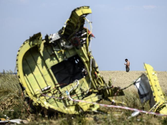 A man stands at the crash site of MH17. AFP PHOTO/ BULENT KILIC