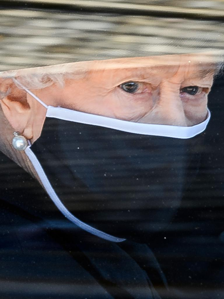 Queen Elizabeth II during the funeral of Prince Philip. Picture: Leon Neal/WPA Pool/Getty Images.