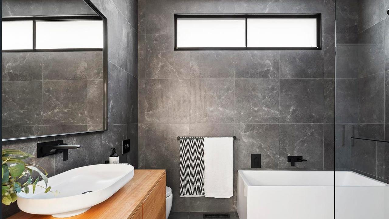 A chic bathroom.