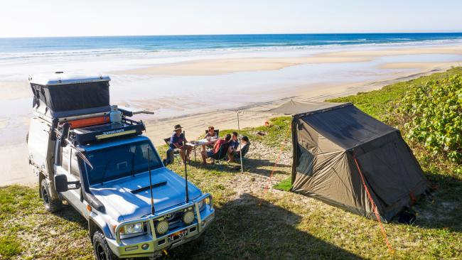Camping on the beach, Double Island Point. Picture: Sean Scott