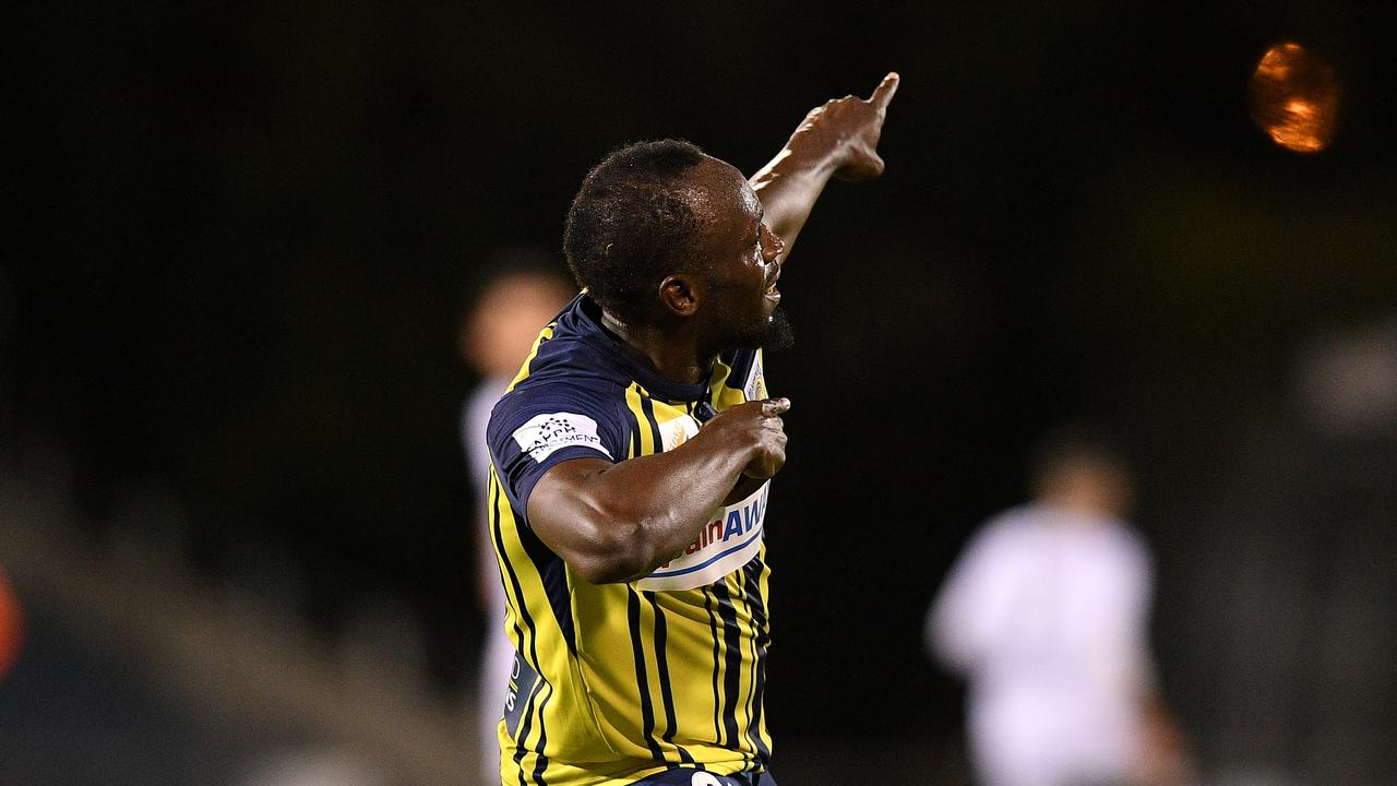 Usain Bolt scored twice on his starting debut for the Mariners.