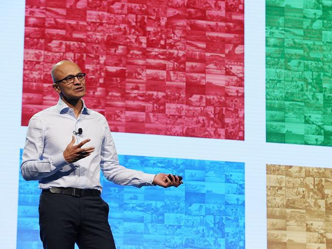 Satya Nadella delivers address to Sydney audience.