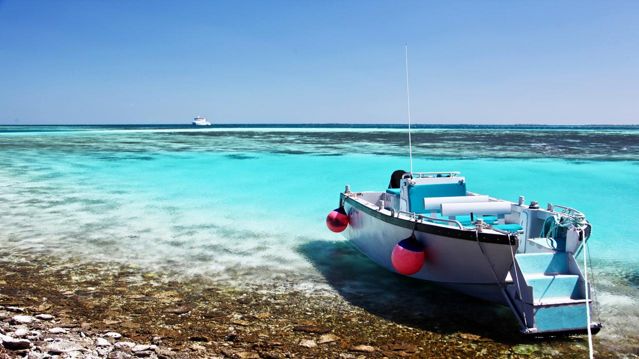 Eco Abrolhos Cruises' dinghy at Wooded Island. Picture: Fleur Bainger