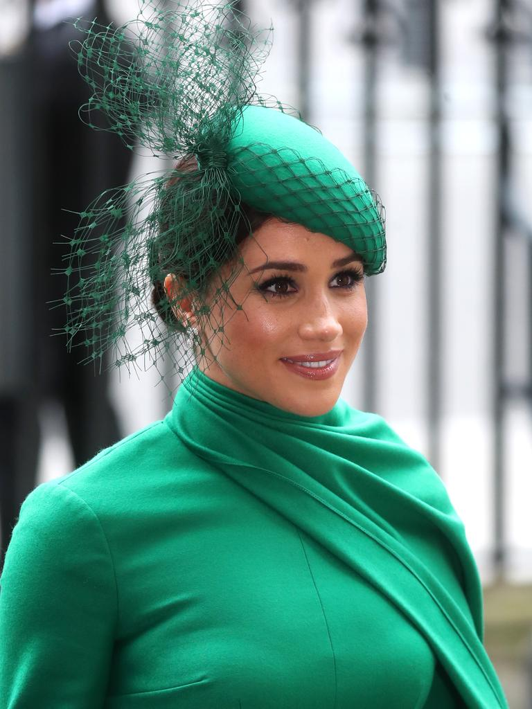 Her custom-made hat matched her bespoke dress. Picture: Chris Jackson/Getty Images