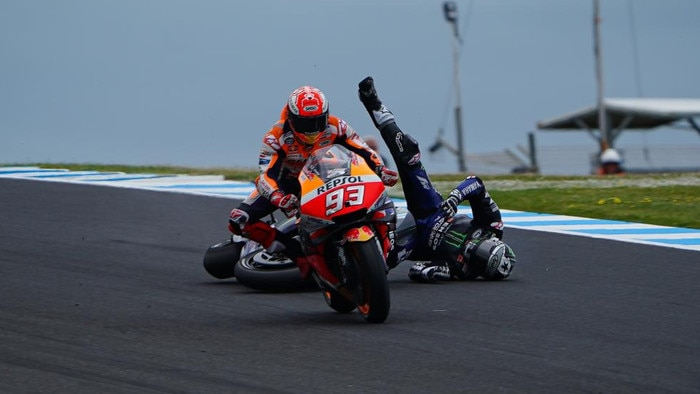 Vinales falls on the final lap, with Marquez oblivious. Picture: MotoGP.com