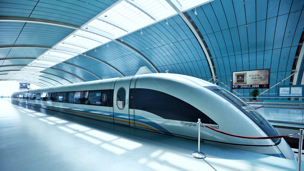 Shanghai, China - October 04, 2009: Shanghai Maglev Train or Shanghai Transrapid is a magnetic levitation train, the fastest passenger train currently in service (431km/h). The line runs from Longyang Road station in Pudong to Pudong International Airport.