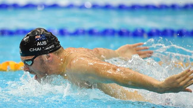 Hometown hero Kyle Chalmers during the 2017 Australian Short Course Swimming Championships at the SA Aquatic Centre and Leisure Centre in Marion in October. Picture: AAP Image/David Mariuz