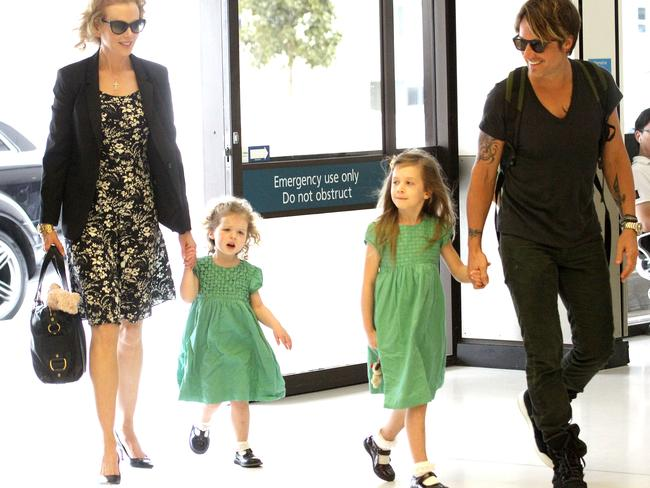 Nicole Kidman and Keith Urban with their daughters Faith and Sunday in 2014. Picture: INF