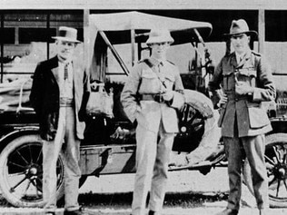 George Gorham, Paul McGinness and Hudson Fysh before departing Longreach on their air service survey of northern Australia on August 19, 1919. Picture: suppied
