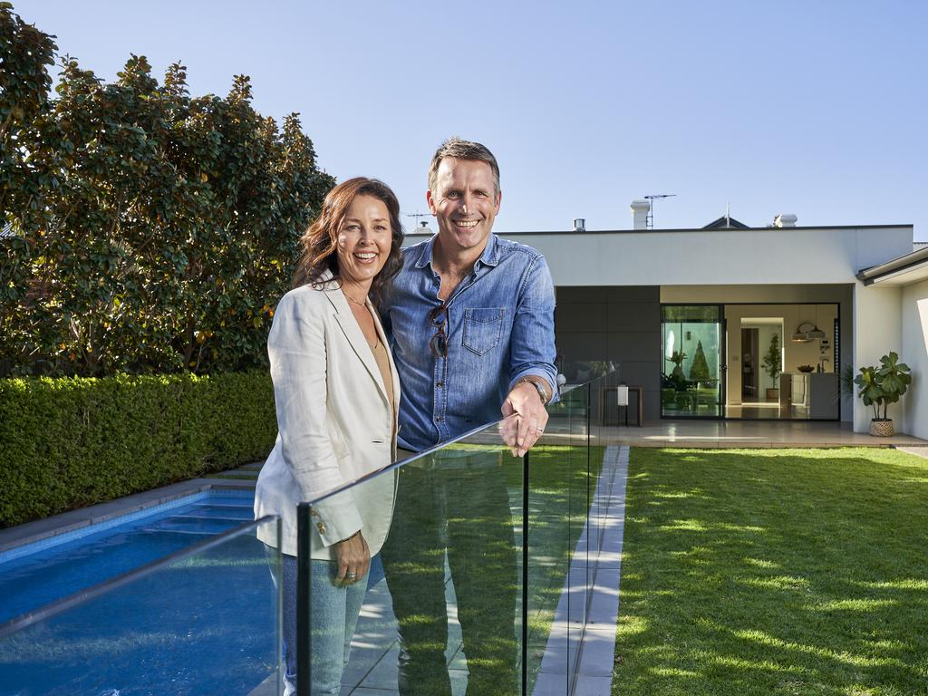 Karmen and Darryl Wakelin outside their house for sale in Unley, Thursday, Oct. 7, 2021. Picture: MATT LOXTON