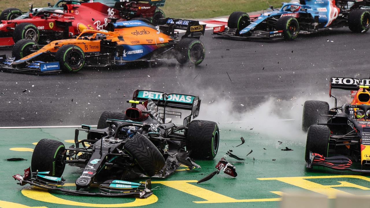 Five cars crashed out in a shocking first lap crash in the Hungarian GP.