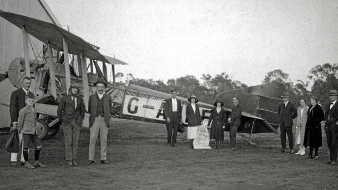Paul McGinness (third from left) about to depart Charleville for the first Qantas passenger flight on November 2, 1922. Picture: supplied