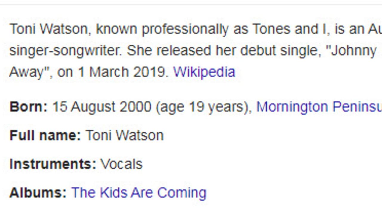 Tones And I's Google bio.